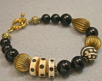 Vintage Black Onyx Bead Bracelet ,Vintage Chinese Carved Two Tone Black Spotted Ox Bone Beads ,Vintage Raw Brass Beads