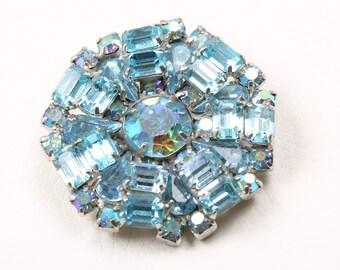 1950s Blue Weiss Rhinestone Brooch
