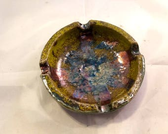 Raku pottery ashtray