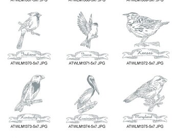 Redwork-State-Birds-2-5x7.  ( 10 Machine Embroidery Designs from ATW )