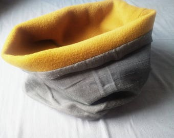 Snood / neck grey cotton lined interior yellow 100% wool