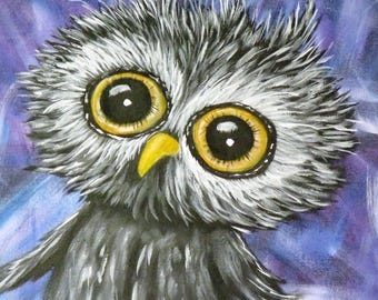 Owl ACEO Print, Artist Trading Cards, Whimsical Owl ACEO made from my Original Acrylic Painting that was Sold, Collectible Owl gift idea art