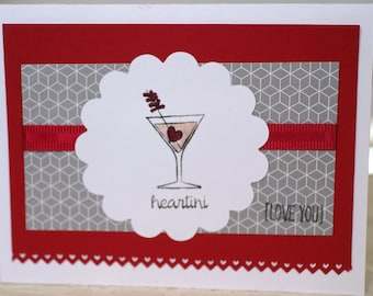 Handmade Romantic Card, Martini Card, Husband Card, Wife Card for Her, I Love You Card, Anniversary Card, Miss You, Thinking of You Card