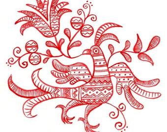 LAST ONE - fine art print - Olga the Beautiful Red Bird