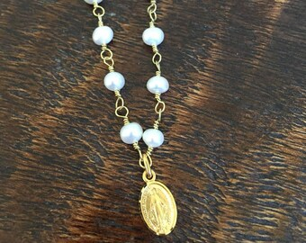 Freshwater Pearl Miraculous Medal Necklace