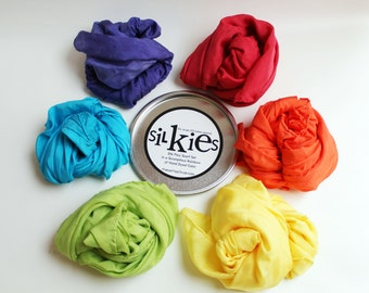 Silkies Rainbow Scarf Playset SMALL - Montessori and Waldorf Inspired Open Ended Play Silks