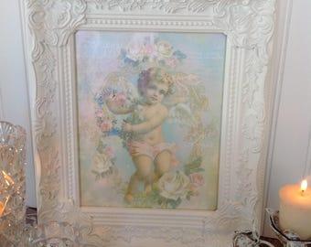 Framed cherub print, Cherub canvas print, French cherub decor, Cherub wall decor, Shabby-chic cherub decor