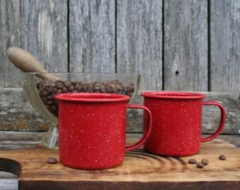 Vintage Beautiful Red Speckled Enamelware Coffee Cups/Mugs