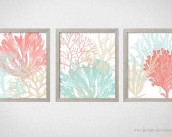 Coral Mint Tan Wall Art, Beach House Decor, Bathroom Art, Beach Nursery Art, Mint Bedroom Art, Coral Mint Art, Coastal Living Room Art