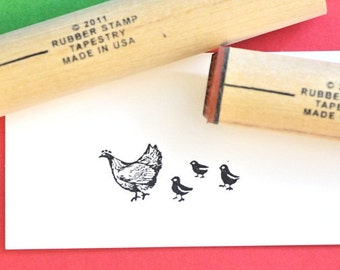 Hen and Chicks Rubber Stamp Set