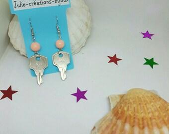 Pearl and key earrings