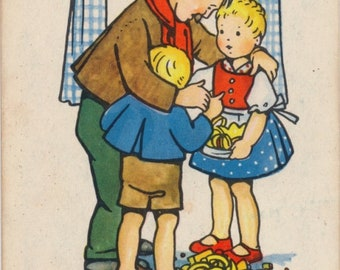 Vintage Single Card: Hansel and Gretel, Fairy Tale.