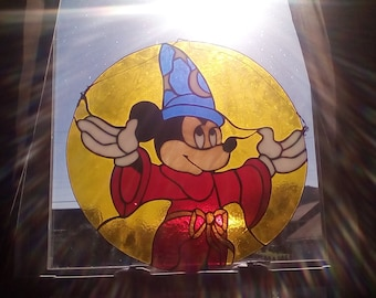 mickey mouse in stained glass disney classic sorcerer design.