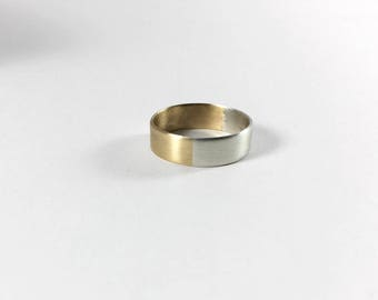Half and Half Ring Band // Sterling Silver and Brass