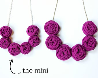 Plum Girls necklace, fabric flower necklace, fabric rosette necklace