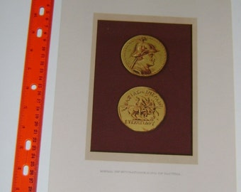 EUCRATIDES BACTRIA MEDAL  Beautiful Antiquities Print ~ Rome and Roman Color 1880s Chromolithograph Vintage Antique Art Print [InvRoL#7