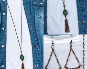 Handmade jasper and turquoise gemstone earring and necklace set. Copper and gemstone long tassel necklace and dangle earring set.