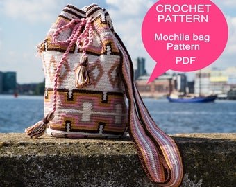 Mochila bag tutorial, Tapestry crochet pattern, Crochet tutorial,  for a medium size Mochila bag, Digital PDF, Instant download