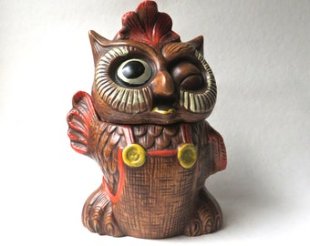 60s/70s vintage Large Winking Owl Ceramic Cookie Jar / Mid Century Kitschy Owl in Overalls Ceramic Cookie Jar