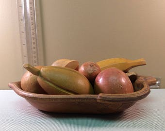 Vintage Wooden Faux Fruit (Bowl not Included)