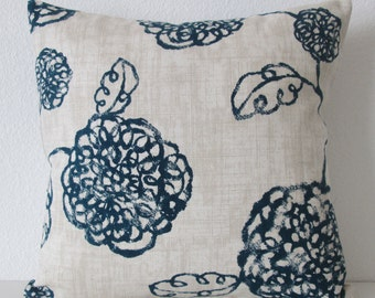 Pillow Cover - Botanical - Adele Navy - Floral - Blue - Natural - Accent - Throw - Lumbar - Cushion Cover