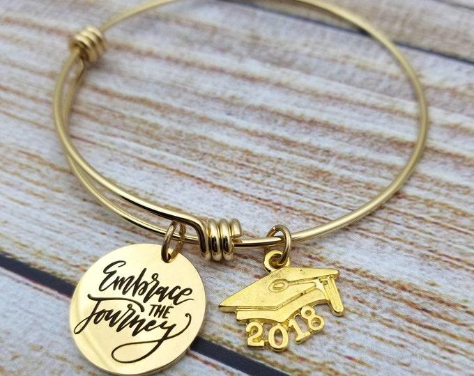 Embrace the journey graduation gold Customizable Expandable Bangle Charm Bracelet, graduation, high school, college,