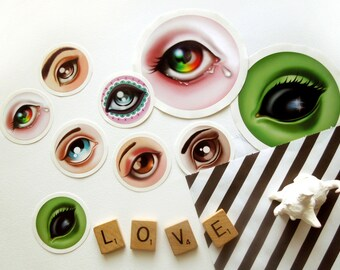 Lover's Eye Set of 9 Stickers Labels Seals by Sandra Vargas Original Designs