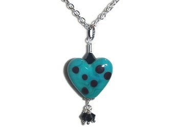 Lampwork Heart Necklace Glass Heart Necklace Heart and Dangles Necklace N127