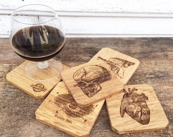 Oak Wooden Human Anatomy Coasters, Medical Coasters, Gift for Doctor or Nurse
