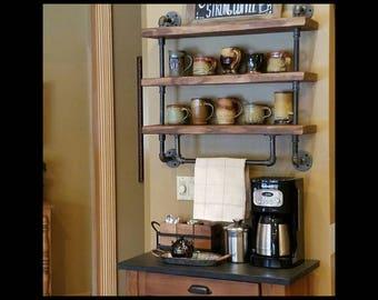 Industrial pipe shelf, Bathroom shelves, Kitchen shelves, Shelving unit, Entryway shelf, Storage shelf, #ReclaimedWoodUSA