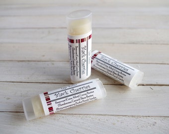 Black Cherries Lip Balm - with Beeswax, Cocoa Butter and Shea Butter - Unsweetened