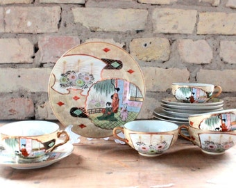 Vintage china tea set, cups, plates, saucers, tea set for four, wedding gift, from China