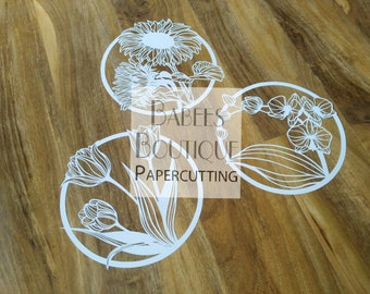 3 x Paper flowers template bundle | Papercutting Template | by Babees Boutique Papercutting | Personal & Commercial use