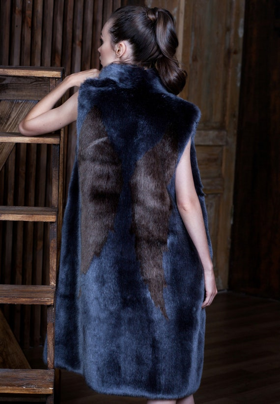 applique France vest by faux fur with fur Luxury vests fur graphite fur Vest Exclusive fur Women Fake Faux vest vest sable Tissavel Z1HHC5qw