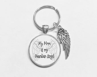 My Mom Is My Guardian Angel Wing In Memory Memorial Sympathy Gift Keychain