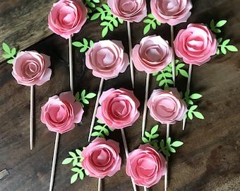 1 Dozen Flower Cupcake Picks-baby shower, birthdays