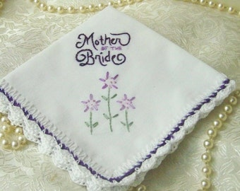 Mother of the Bride Gift, Mother of the Bride Handkerchief, Hand Crochet, Hand Embroidered, Custom Embroidered, Personalized, Ready to ship