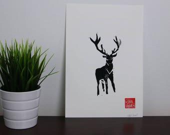 Linoprint with deer. Linocut - handmade.