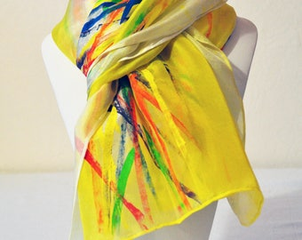 Silk scarf painted by hand multicolor yellow RIKA