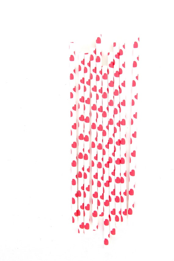 CLOSEOUT SALE Red and White Heart Straws 15 Count