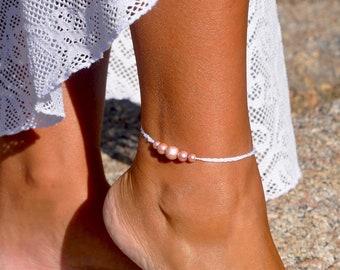 Pink Pearl Anklet | Minimalist Anklet | Bridal Anklet | Beach Wedding Anklet | Dainty Anklet | Foot Jewelry | White Anklet | Ankle Bracelet