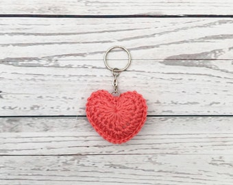 coral heart keyring, valentine's gift, crochet heart keychain, crochet keyring, gift for her