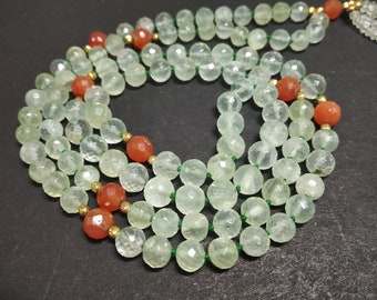 Natural Prehnite 108 Faceted Round Balls Strand 6 mm Hand Knotted Necklace  Meditation Prayer Yoga Mala