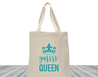Bachelorette Bags, Tote Bags, Wedding Bags, Custom Totes, Bachelorette Tote Bags, Bachelorette Totes, Yas Queen Tote, Crown Tote, 1492