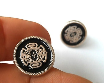 15mm Vintage Studs in Muted Silver & Black Lacquer. Gift Box w/ Ribbon Included. FAST Shipping w/Tracking for US Buyers. The PERFECT Gift.