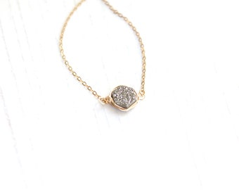 Silver Hexagon Druzy choker Silverado drusy quartz mixed metal gold and silver necklace geometric jewelry layering necklace Under 50