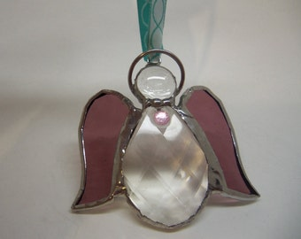 Stained Glass-Angel -Ornament/Suncatcher-Rose Pink and Sparkling Crystal
