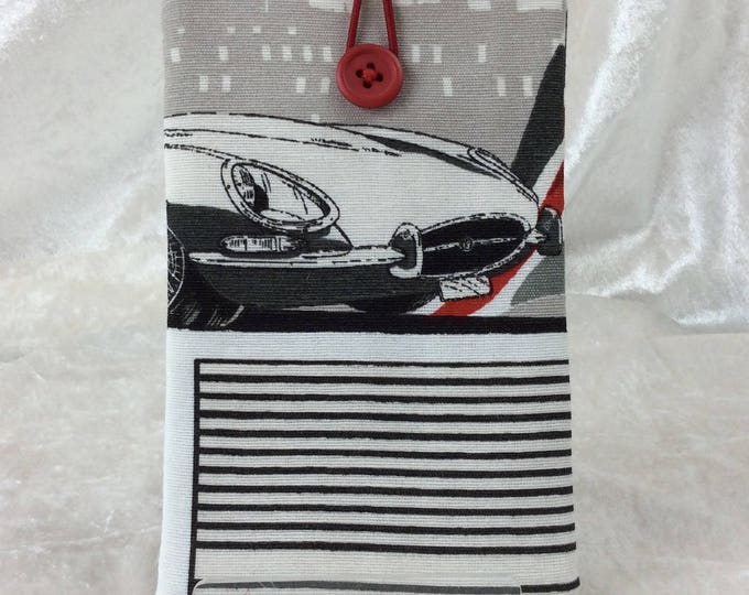 Handmade Phone Glasses Case Cover Pouch  E-Type Jaguars