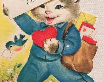 Vintage Valentine Card Kitten Cousin Postman Unused NOS Mid Century