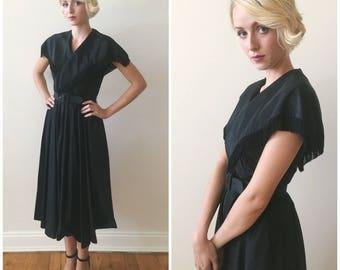 Vintage 1950s Black Taffeta Party Dress With Fringe Details and Belt